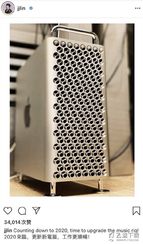 林俊杰晒办公电脑Mac Pro